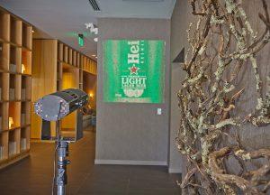 Heineken brand projected inside a lobby