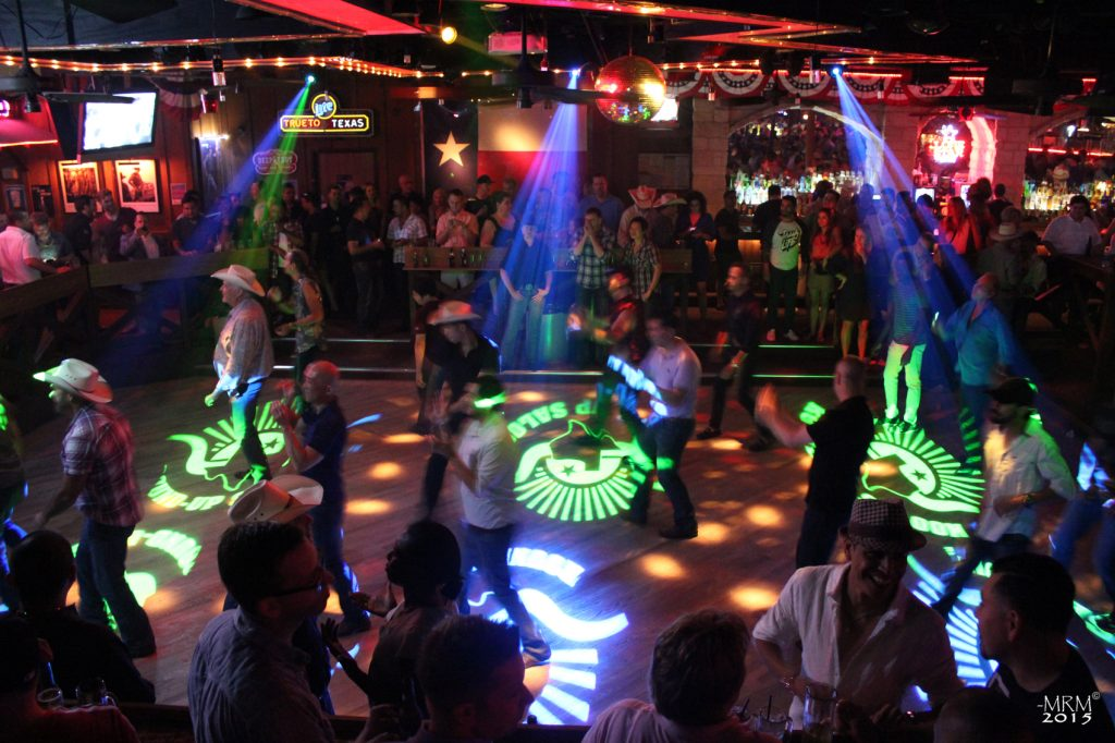 The Round-Up Saloon in Texas projects their logo with a custom gobo on the dance floor to promote social media sharing.