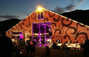 Use a patterned gobo projected across the facade of your venue for your outdoor wedding lighting.