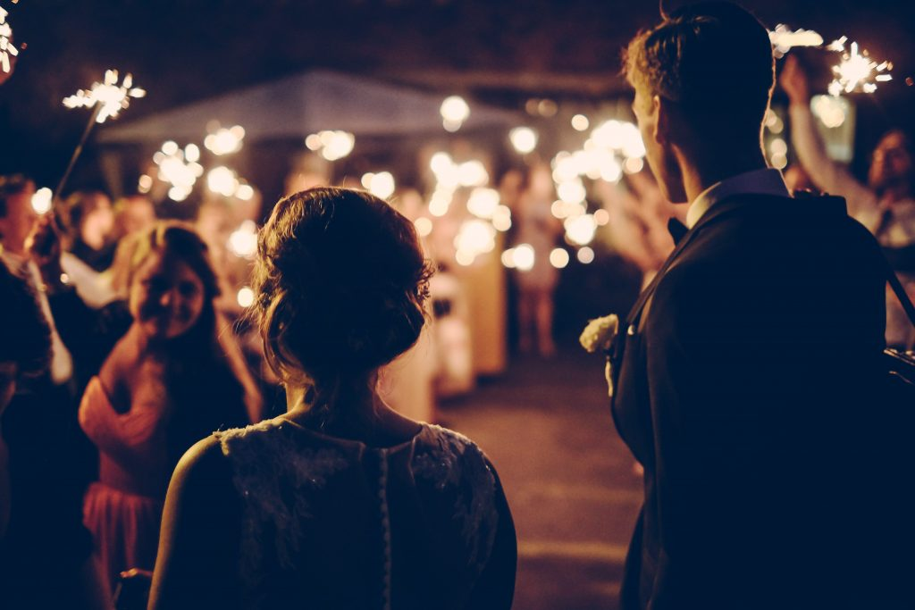 Gobo projection creates truly enchanting outdoor wedding lighting