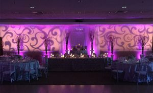 Personalize special occasions like an engagement party or bridal shower with a monogram gobo
