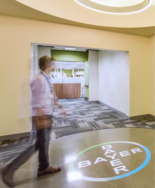 Use motion sensors with gobo projectors to trigger your logo to appear when someone walks past.