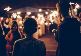 Outdoor Wedding Lighting: Gobo Projection From Dusk till Dawn