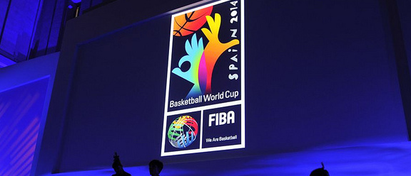Projection of Basketball World Cup logo using a glass gobo.