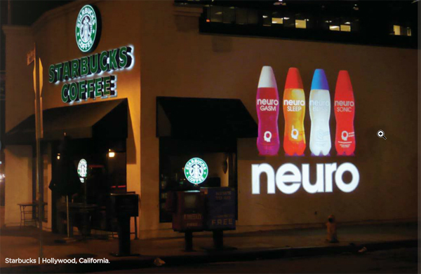 Neuro drink advertisement projected across building using a full-color glass gobo.