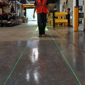 VirtuaLine Lasers project two adjacent thin green lines to create a walkway.