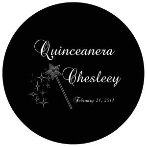 Quinceanera Gobo Glass QGBW-02 Edwardian Script