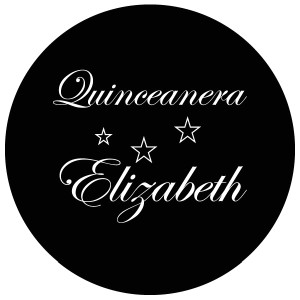 Quinceanera Gobo Glass QGBW-07 Edwardian Script