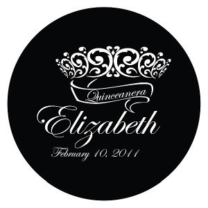 Quinceanera Gobo Glass QGBW-08 Edwardian Script