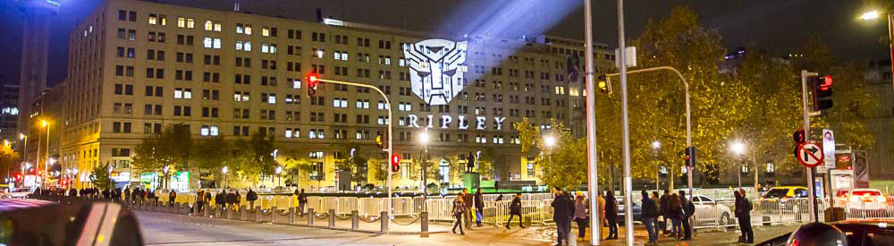 Picture of branded projections on Boston mall rooftop at night. using ECO Spot B150E's provided from GoboSource.