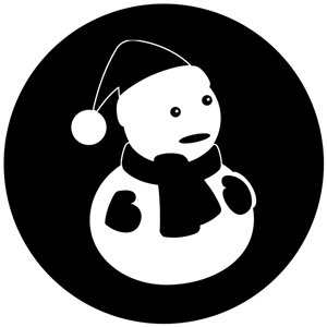 Snowman Silhouette - GSG N1077-bw - Holiday Gobo - BW